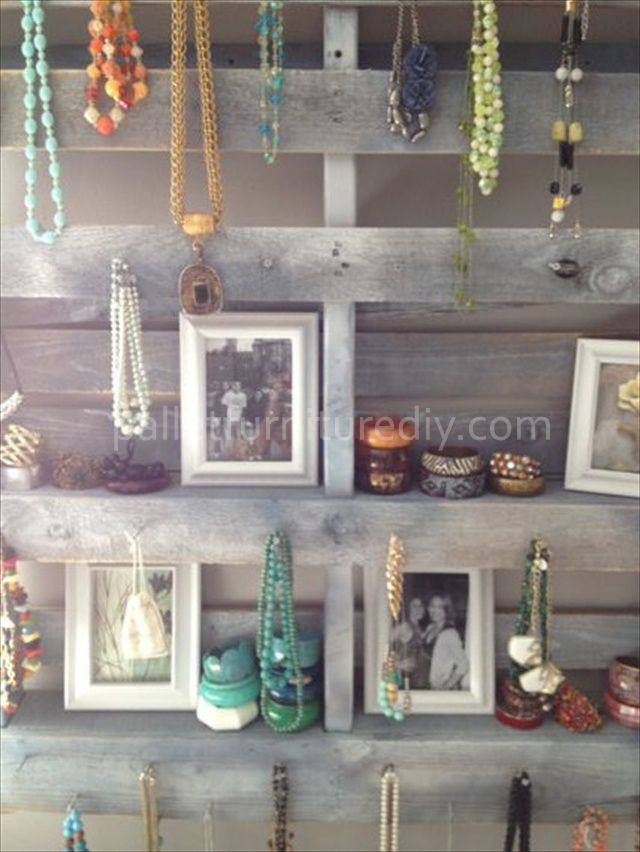 Pallet Jewelry Display ... I'd love to do this for my personal collection or for my home display