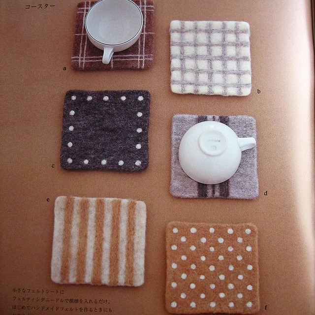 """coasters - from the book """"simple zakka and bag of felt wool"""", ISBN # 4-277-43072-4"""