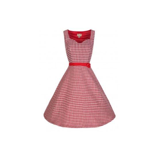 Retro šaty Lindy Bop Nancy Red Šaty ve stylu 50. let. Kouzelné šaty v pepito vzoru, pohodový střih i materiál (100% polyester, na omak příjemný). Menší dekolt, krytý zip v bočním švu, zdobené květinou (pouze připnutá, lze sundat).