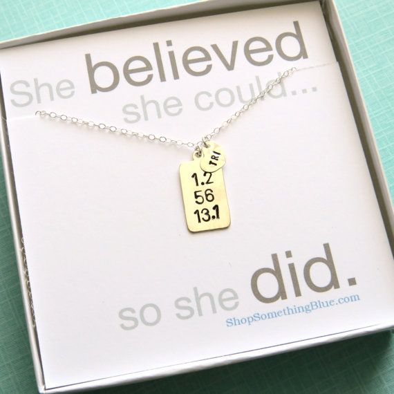 Hand Stamped Triathlon Necklace, Dog Tag in Sterling Silver, Tri Necklace, Run, Bike, Swim Jewelry, Running, 70.3, She believed she could