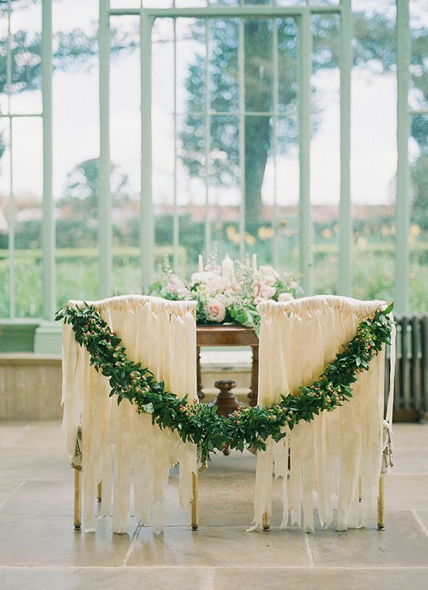 gorgeous ribbon and floral garland ceremony chair decor | www.onefabday.com