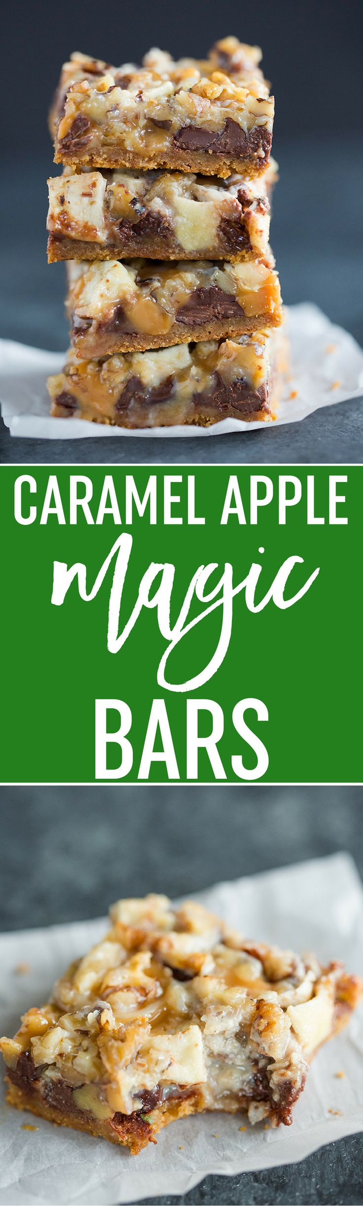 Caramel Apple Magic Bars feature a graham crust, chocolate chips, chopped up caramels, chopped apples, and walnuts. An easy must-make recipe for fall! ~ Brown Eyed Baker