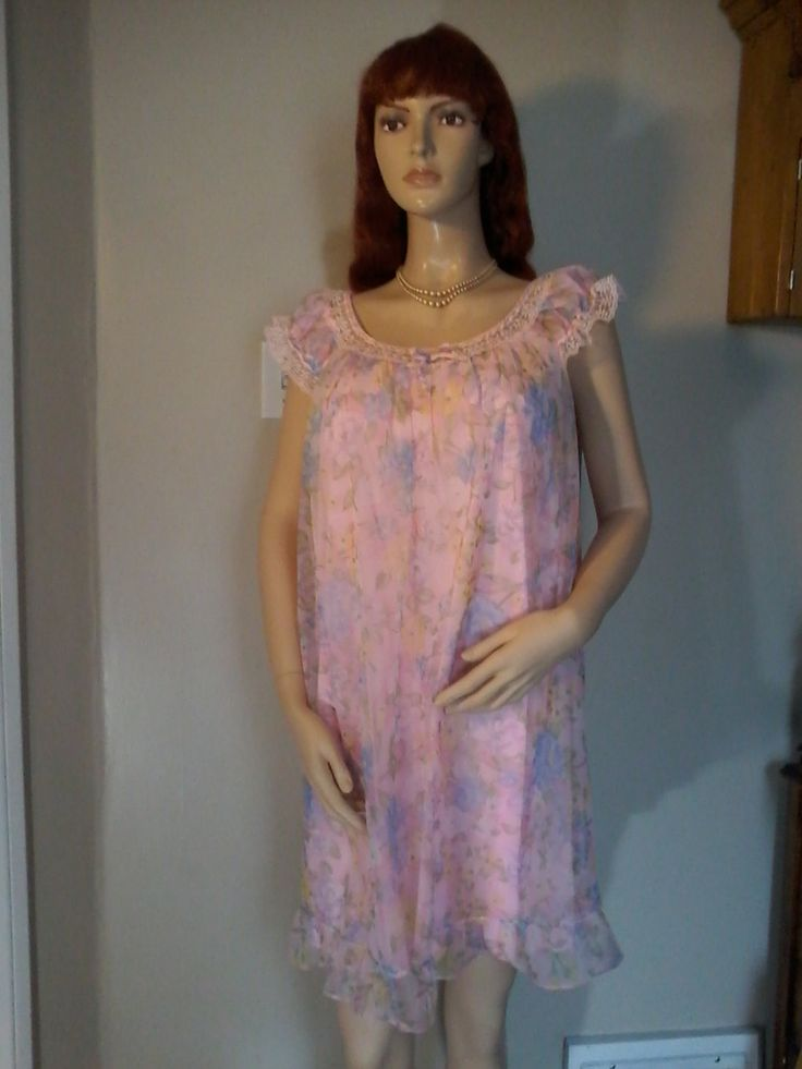 Vintage 1960s  nightie by Louis Jean. Is two layers of pink nylon,size large by MajorVintageShop on Etsy