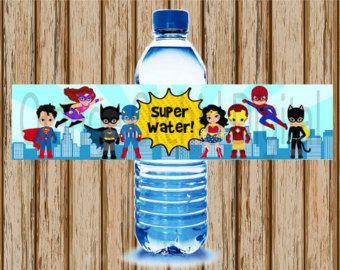 Super héros Water Bottle Labels super par DreamyPartyPrintable
