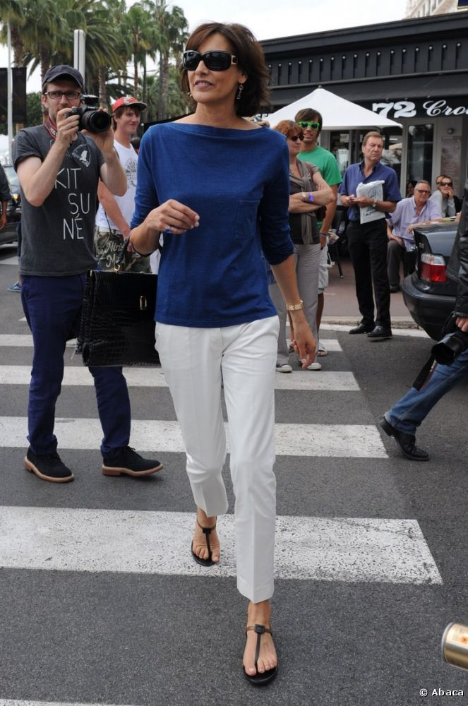 ines de la fressange - lovely fresh navy boatneck and white pants on thong sandals