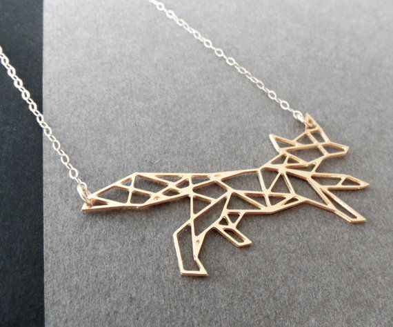 geometric fox necklace by WildThingStudio, $64.00