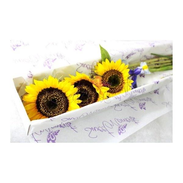 Caja 3 girasoles y 2 Iris