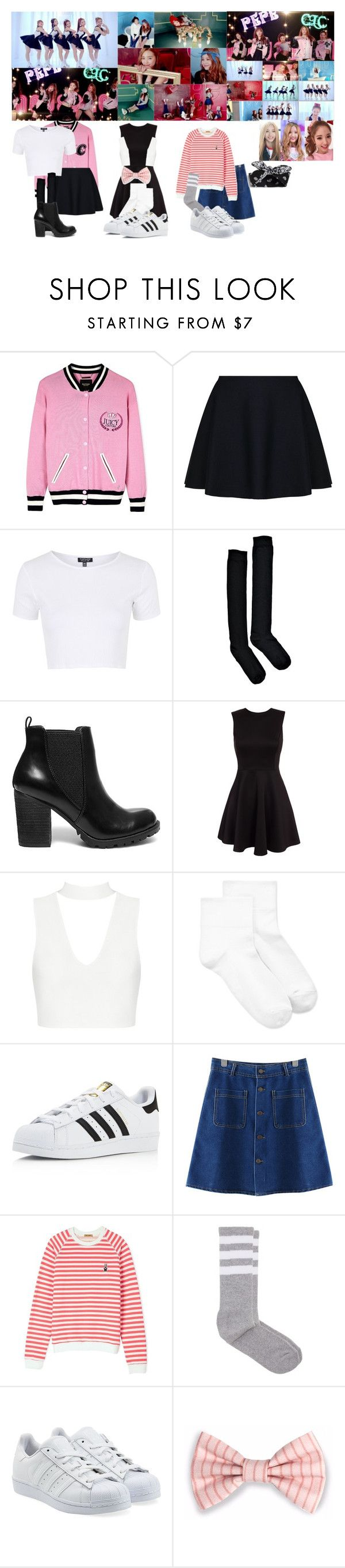 """CLC - Pepe MV"" by ohmygirllover5 ❤ liked on Polyvore featuring PèPè, Juicy Couture, TWISTY PARALLEL UNIVERSE, Topshop, Boohoo, Steve Madden, Hue, adidas, Chicnova Fashion and Peter Jensen"