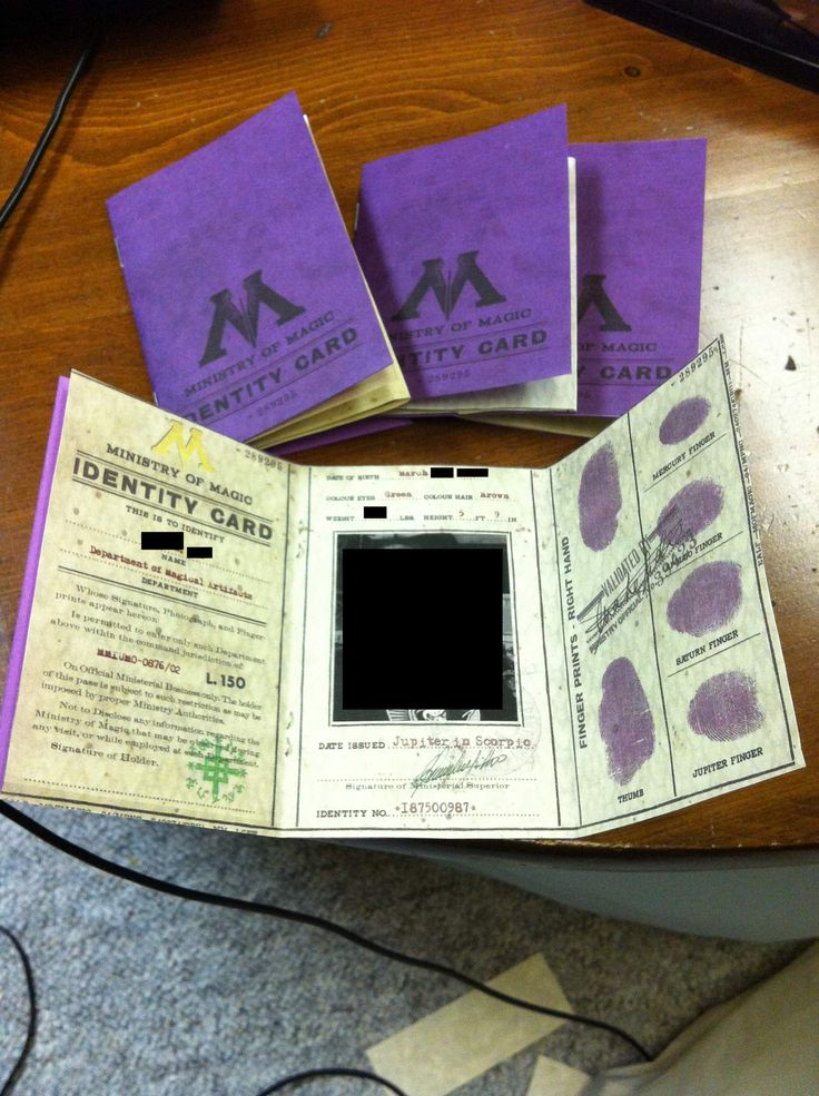 Harry Potter Ministry of Magic Identification Card (free printable pages available)