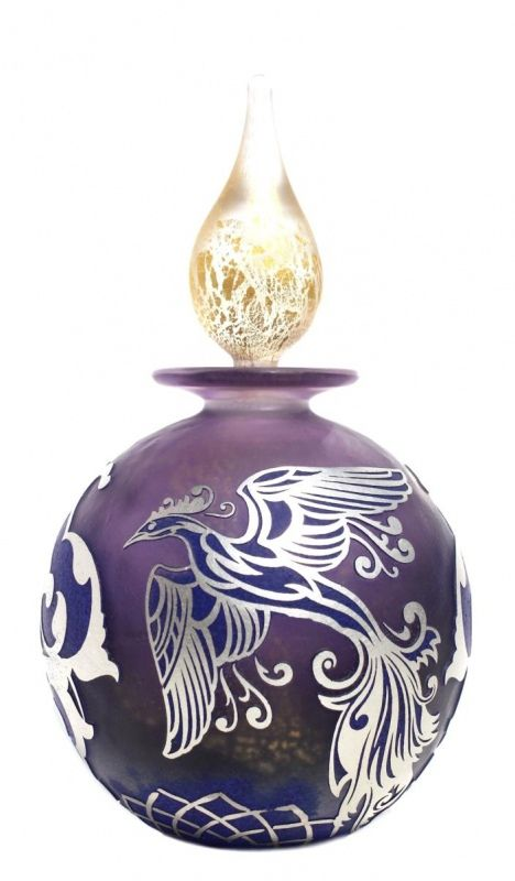 Silver Phoenix Glass Perfume by Jonathan Harris: Silver cameo MIA 'Phoenix' amethyst base with mountain blue surface colour & internal gold leaf.