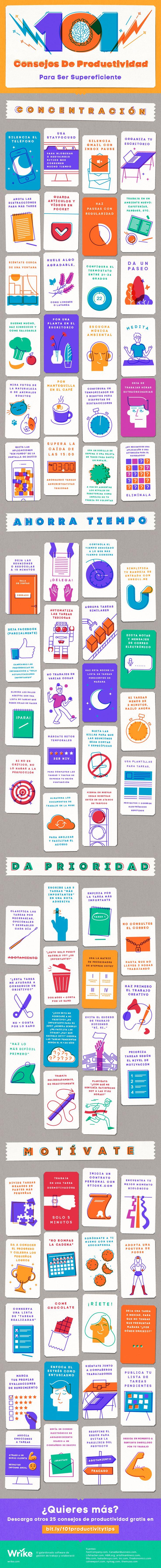 Hola: Una infografía con101 consejos de Productividad para ser supereficiente. Vía Un saludo  Anuncios Relacionado