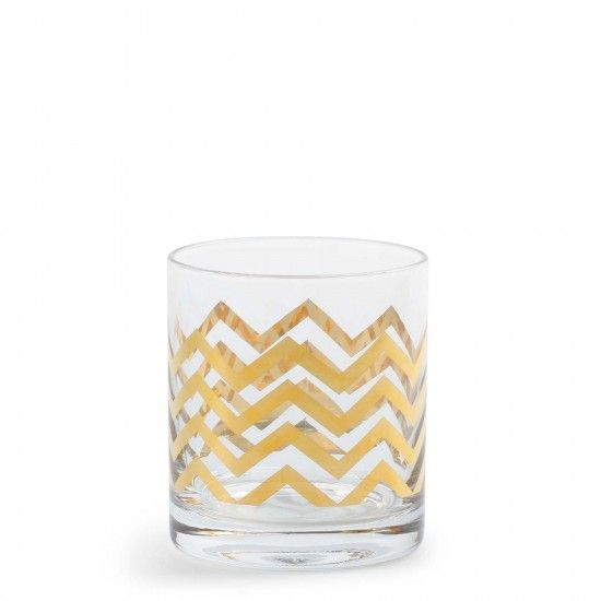 cute set of golden Chevron glasses {perfect for a bar cart}