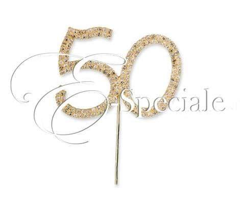 Decorazione 50 con Strass - Prodotti per Matrimonio - Cake Topper - Cake Topper Anniversario - accessori e gadget per matrimoni e feste - E-speciale
