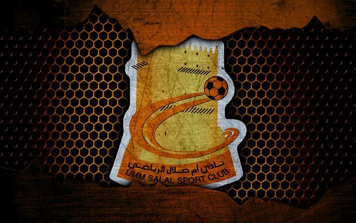 Download wallpapers Umm Salal, 4k, logo, Qatar Stars League, soccer, football club, Qatar, Doha, grunge, metal texture, Umm Salal FC