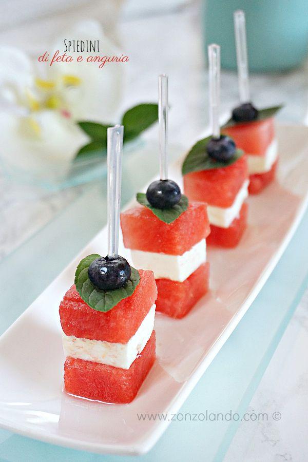 Spiedini di feta e anguria - Feta and watermelon skewers | From Zonzolando.com