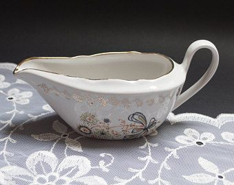 Vintage gravy boat sauce dish porcelain serving dish pitcher rustic home table decor Riga porcelain Soviet porcelain candle holder planter