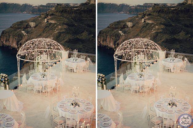 Luxury Wedding Reception in Greece | Santorini Wedding by Stella and Moscha - Exclusive Greek Island Weddings | Photo by Anna Roussos | http://www.stellaandmoscha.com/wedding-photos/private-villa-wedding/