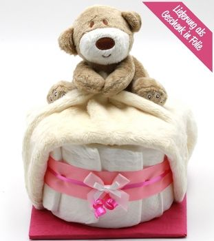 """Windeltorte """"Schnuffi-Bär"""" in rosa für Mädchen mit Schnuffeltuch + Gratis Grußkarte"""