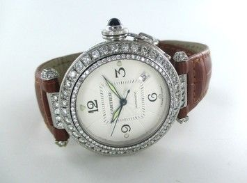 cartier CARTIER PASHA WATCH STAINLESS STEEL 2378 DIAMOND BEZEL LEATHER BAND DATE AUTOMAT