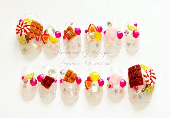 Decoden Japanese 3D nails kawaii fake sweets nail art by Aya1gou, $22.50