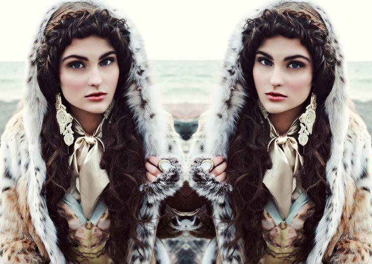 Linx Fur Coat by Cosmopolitan Furs, Silk Tie Blouse by Bailey, Silk Bustier by Donald J Procunier, Earrings by Aldo, Ring by H, Fur Cut-off Gloves by Crown Cap