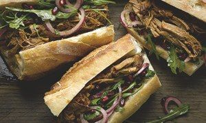 Yotam Ottolenghi's pulled pork sandwich with pomegranate salad