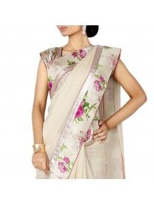 Buy Stylish Off White Georgette Floral Print Saree Online