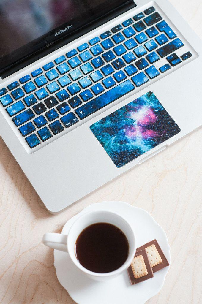Macbook cover skin, macbook pro decal, keyboard stickers, macbook air decal, galaxy decals for macbook