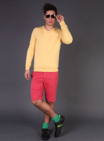 Color me up!  Add some color to this chilly winter, pair yellow sweatshirt with pink shorts and sneakers for a breezy stylish outing.  http://www.freecultr.com/online-shop-by-look-men-sweatshirt-shorts.html#