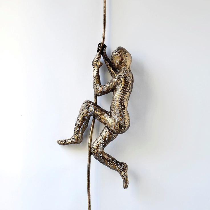 Metal sculpture - Climbing man on rope - home decor - metal wall art - wall hanging. $99.00, via Etsy.