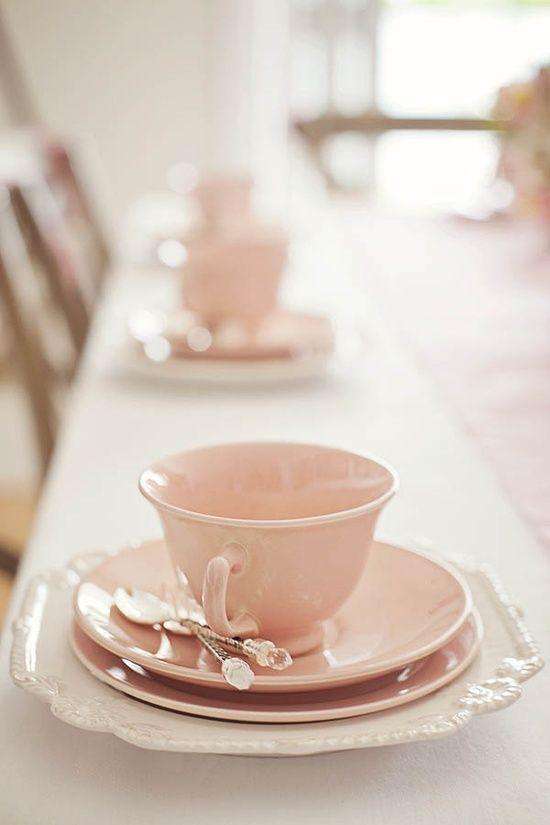 Elegant Rose colored teacup party. Now pour me some tea.