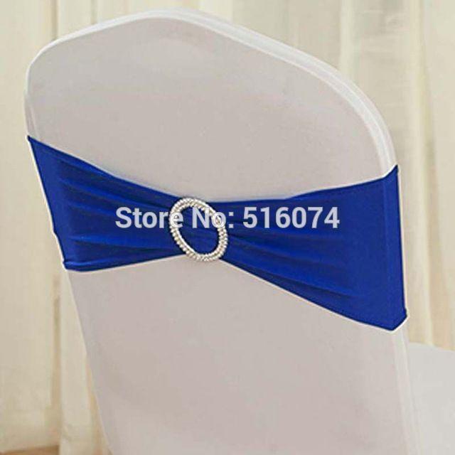 Vente chaude #4 Bleu Royal 50 pcs Spandex Bandes/Lycra bande/Housses de Chaise à Guillotine Avec Boucle Ronde Pour Le Mariage et Banquet