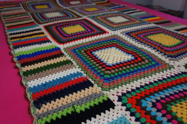 Vintage Crochet Blanket, Retro décor, Color Wool Patchwork - Vintage Bedspread. by yesterdaysgaze on Etsy