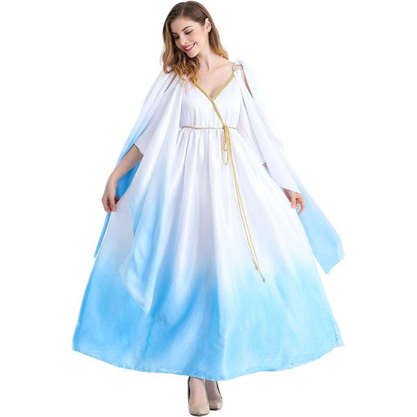 Womens Open Sleeve Halloween Ancient Greece Goddess Costume Light Blue ($55) ❤ liked on Polyvore featuring costumes, sexy women halloween costumes, sexy womens costumes, sexy ladies halloween costumes, lady costumes and womens halloween costumes