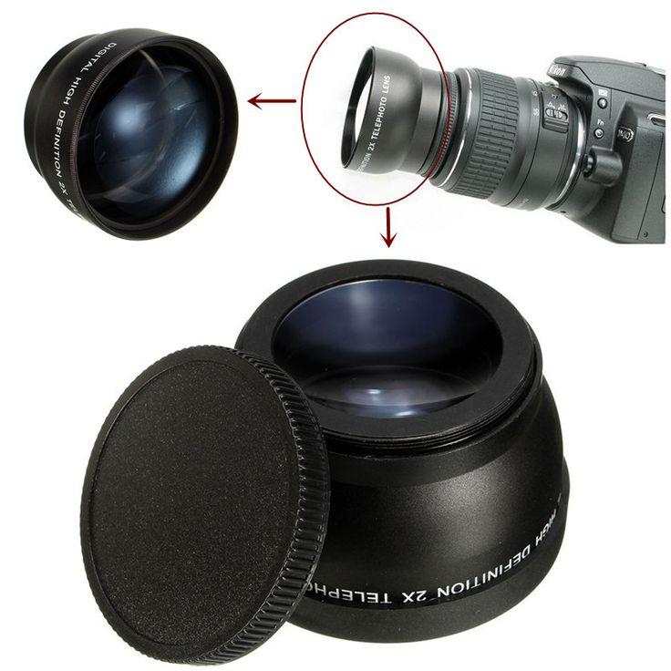 Teleobjetivo de ampliación de 2x de 58mm para Canon Cámara pentax dslr Nikon eos