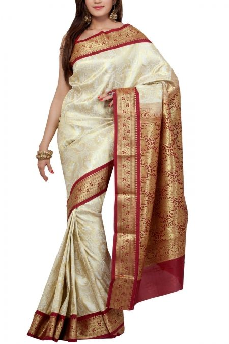 White Maroon Panetar Brocade Art Silk Saree