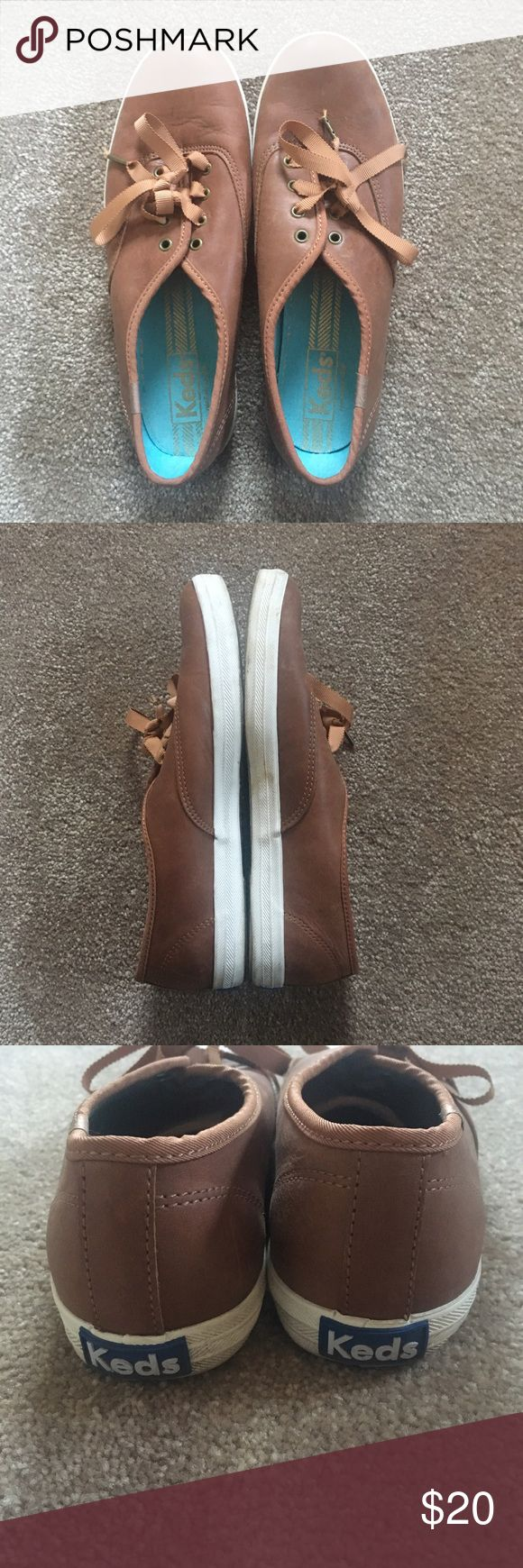Brown Leather Keds 7M Worn only a few times. Super cute - part of the Taylor Swift Keds collection. Adorable brown ribbon laces. Keds Shoes Sneakers