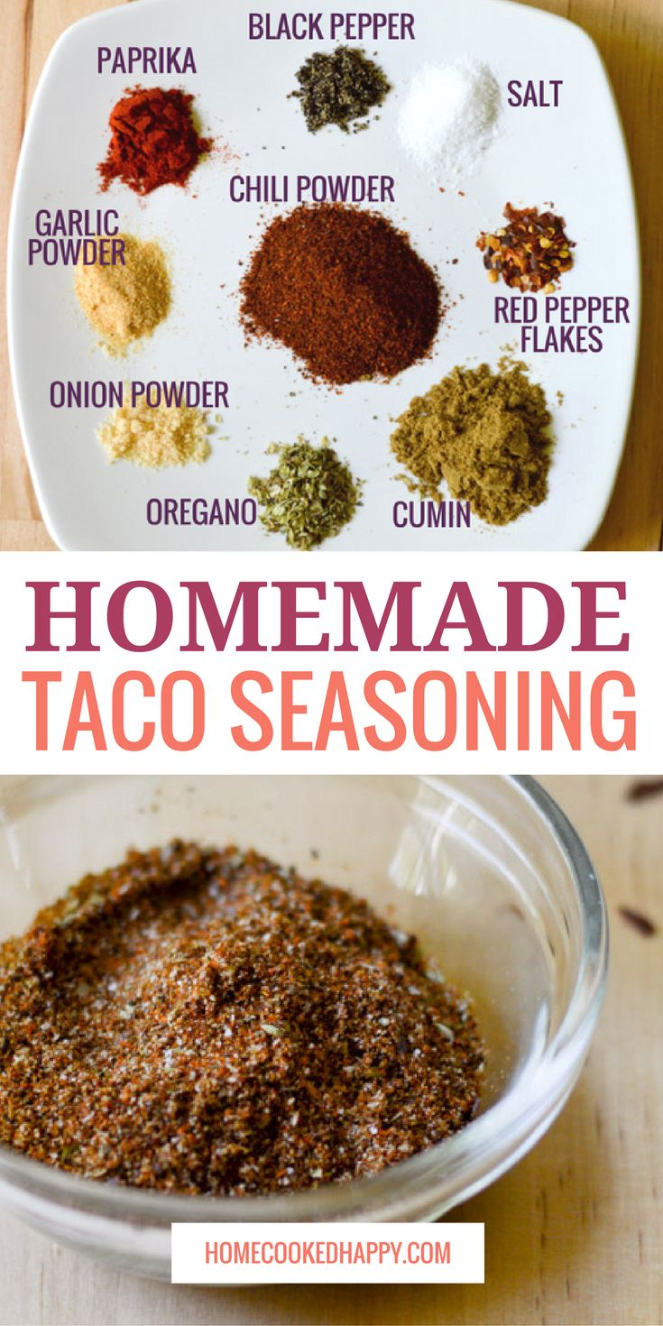 This is the best homemade taco seasoning recipe! So easy, and mild yet full of flavor. In addition to a small batch recipe (perfect for one pound of meat), a large batch recipe is also included, so you can make it once and use it for weeks to come. via @homecookedhappy