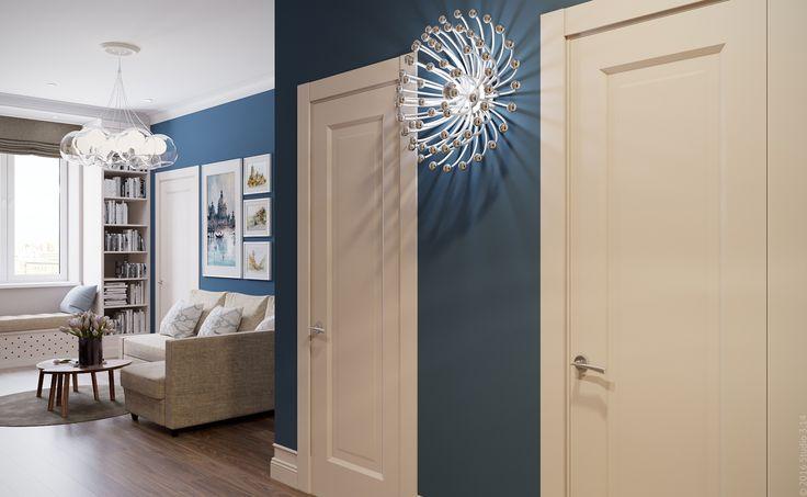 Глубокий синий цвет в оформлении прихожей-гостиной. Необычные современные светильники.