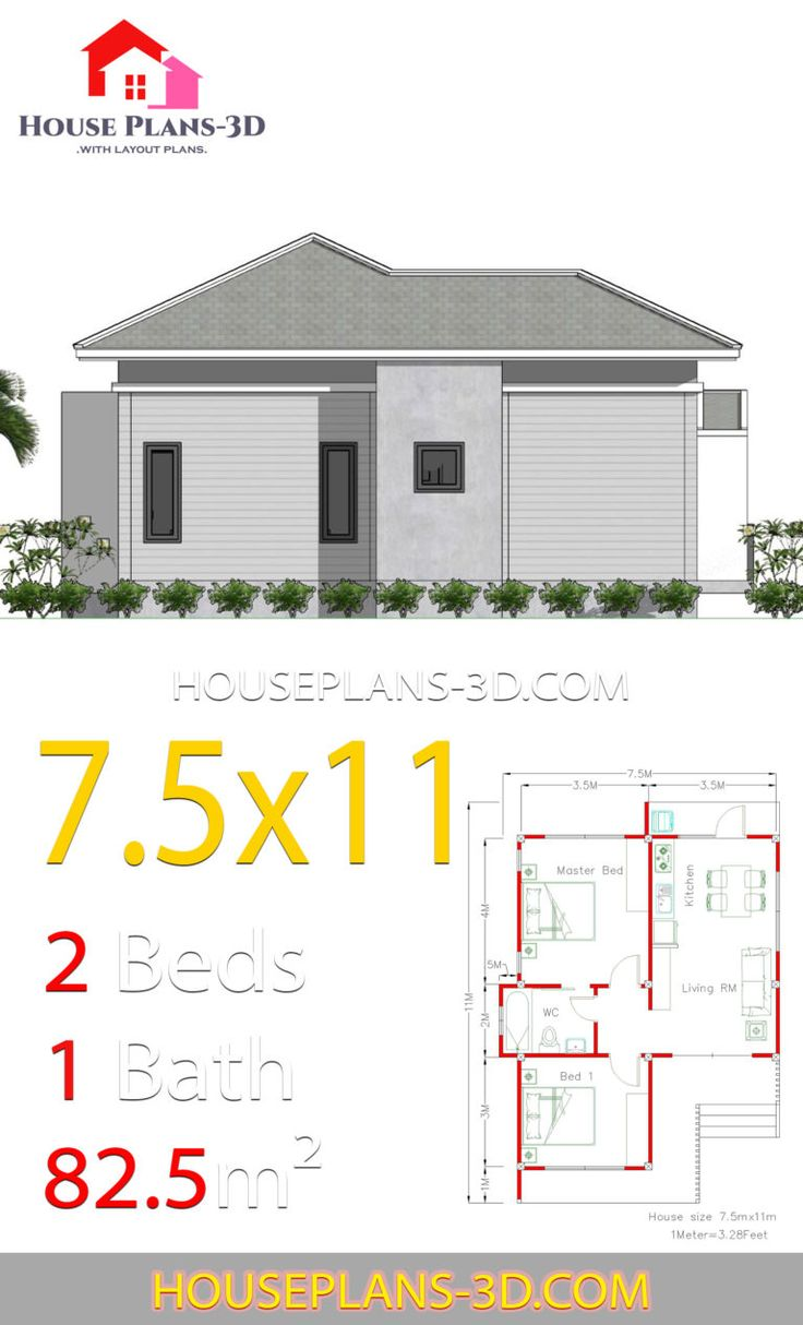 house plans 7 5x11 with 2 bedrooms hip roof house roof