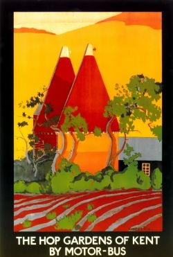 Vintage Travel Poster - The Hop Gardens of Kent by Motor-Bus