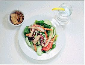 Chicken Salad - 350 Calories  1 large tossed salad  2 tablespoons reduced fat oil and vinegar dressing  6 oz sliced chicken  1 cup of low fat wheat thin crackers  12 oz water