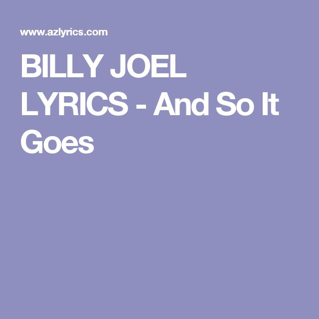 And So It Goes - Billy Joel - One Final Serenade