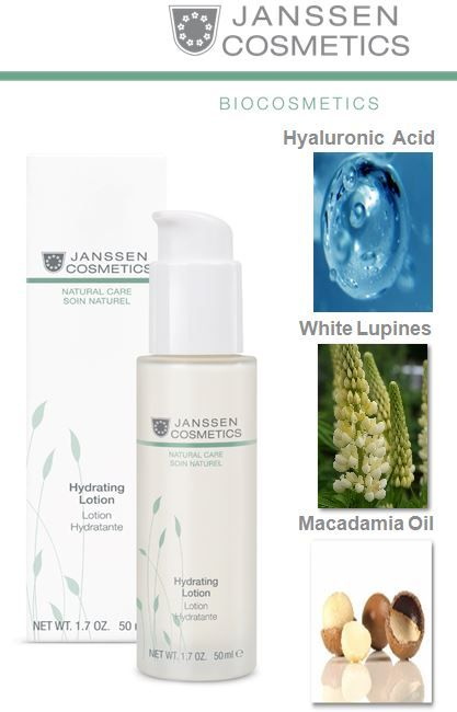 Hydrating Lotion • Specially formulated from Organic compounds • Smoothes and nourishes the skin • Soothes pores and protects the skin from moisture loss • Fast absorbing, gives the skin matte complexion • Suitable for Vegans http://www.janssen-cosmetics-shop.ie/biocosmetics/hydrating-lotion.html