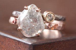 Image of Natural Diamond Slice Ring in 14kt Rose Gold-large. $1095