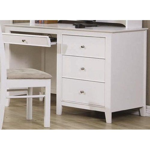 Coaster Home Furnishings Transitional Desk, White. Offering the perfect blend of elegant simplicity and transitional functionality. Keep your child's study space organized with the functional and attractive designs of this computer desk. A roll-out keyboard drawer offers a convenient and accessible place for your computer keyboard.