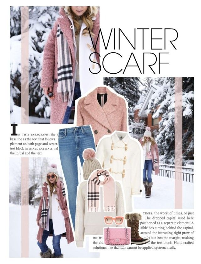 """""""#462 - Wrapper's Delight: Winter Scarf"""" by intothenight27 ❤ liked on Polyvore featuring Topshop, Paige Denim, Burberry, Jocelyn, SOREL, Chanel, STELLA McCARTNEY, contest, fashionset and 2018"""