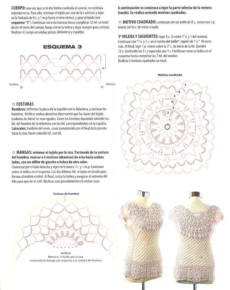 127 best blusas images on Pinterest   Patrones de ganchillo ...