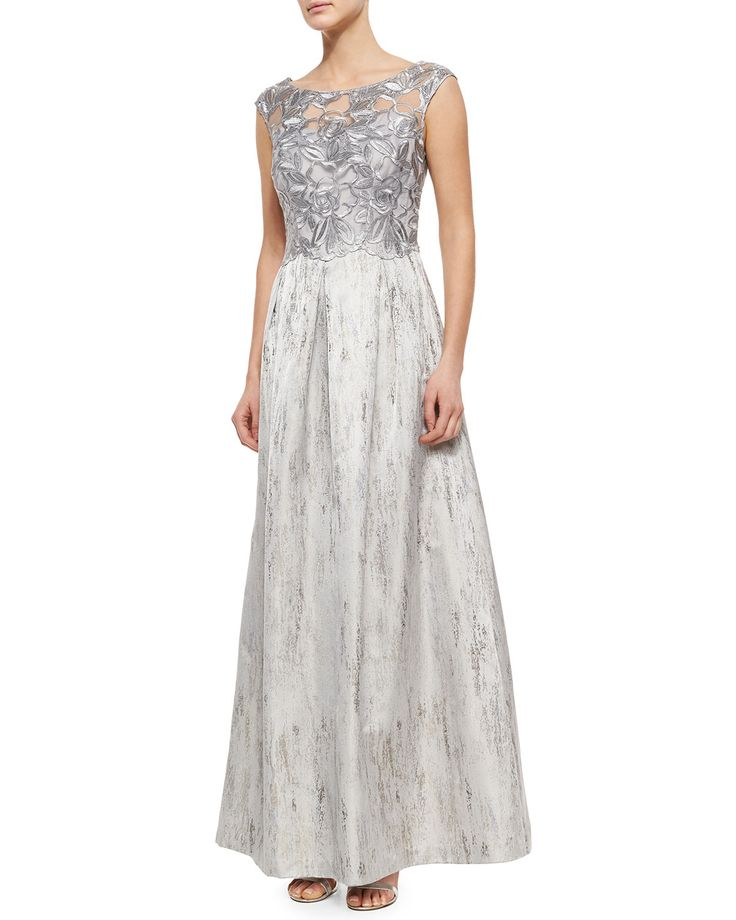 Lace-Bodice Ball Gown, Silver - Kay Unger New York
