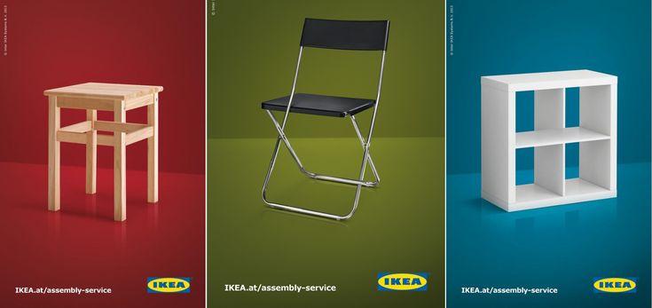 """世界最大のインテリアショップ・Ikeaのウィットに富んだ広告1.  IKEAの家具はそのシンプルさで知られていますが、同時に説明書がシンプルすぎて""""組み立てが難しい""""という声もありました。そこで新しくはじめた「組み立てサービス」をコミュニケートするために、一風変わったプリント広告を制作。  パッと見は気づかないかもしれませんが、ジッと見るとそれぞれスツールの脚、折り畳みイスの向かって左側の足、オープンラックの棚の部分がちょっとおかしく見えてきます。  「なんだか組み立てがうまくいかない」というユーザーのインサイトを、騙し絵のようなビジュアルで表現するとともに、組み立てが苦手なあなたのために「IKEAには組み立てサービスもありますよ」ということを巧みに訴求しています。"""